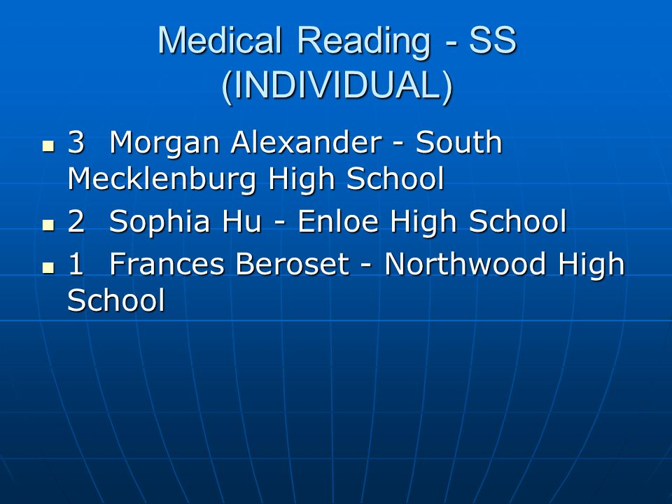 Medical Reading - SS (INDIVIDUAL)
