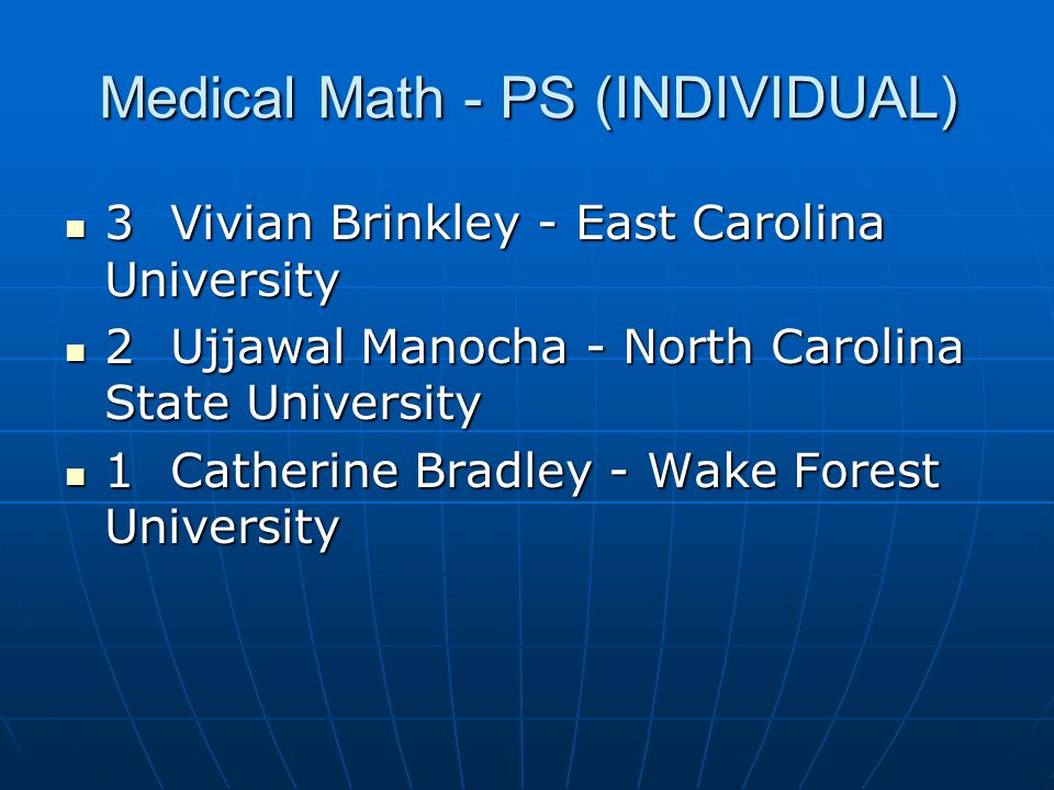 Medical Math - PS (INDIVIDUAL)
