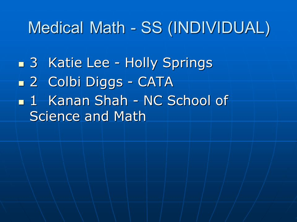 Medical Math - SS (INDIVIDUAL)