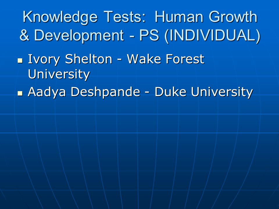 Knowledge Tests: Human Growth & Development - PS (INDIVIDUAL)