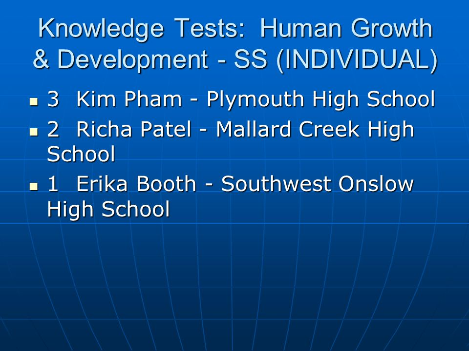 Knowledge Tests: Human Growth & Development - SS (INDIVIDUAL)