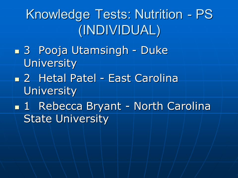 Knowledge Tests: Nutrition - PS (INDIVIDUAL)