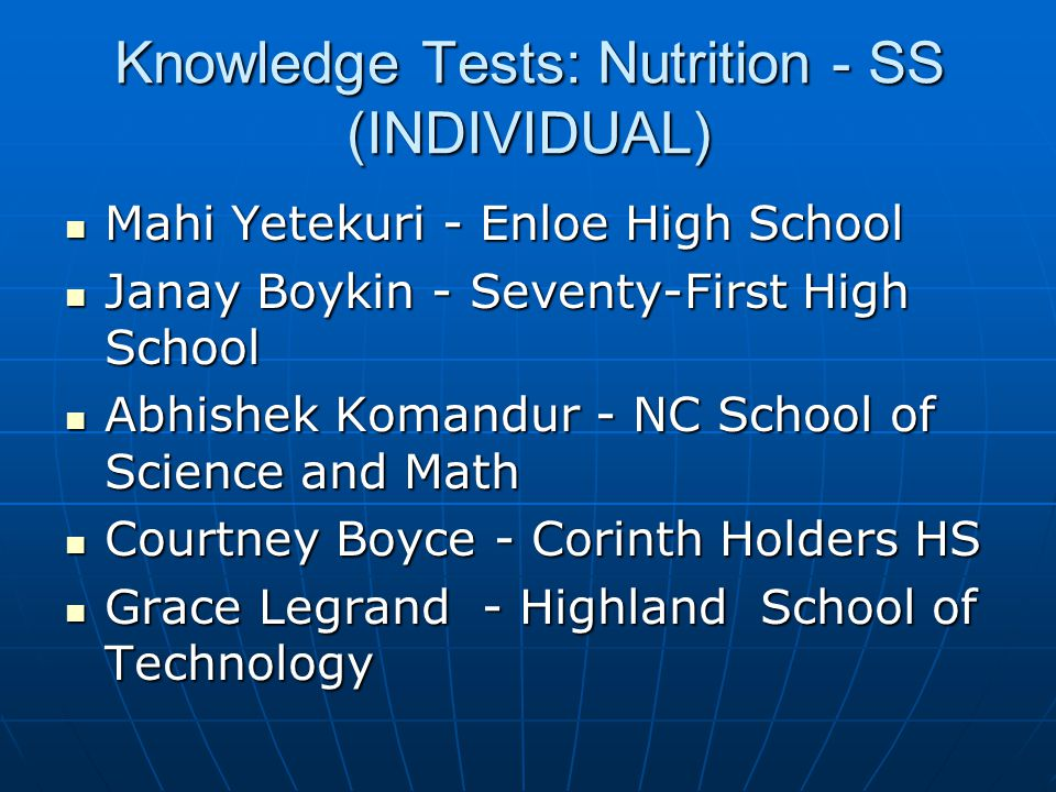 Knowledge Tests: Nutrition - SS (INDIVIDUAL)