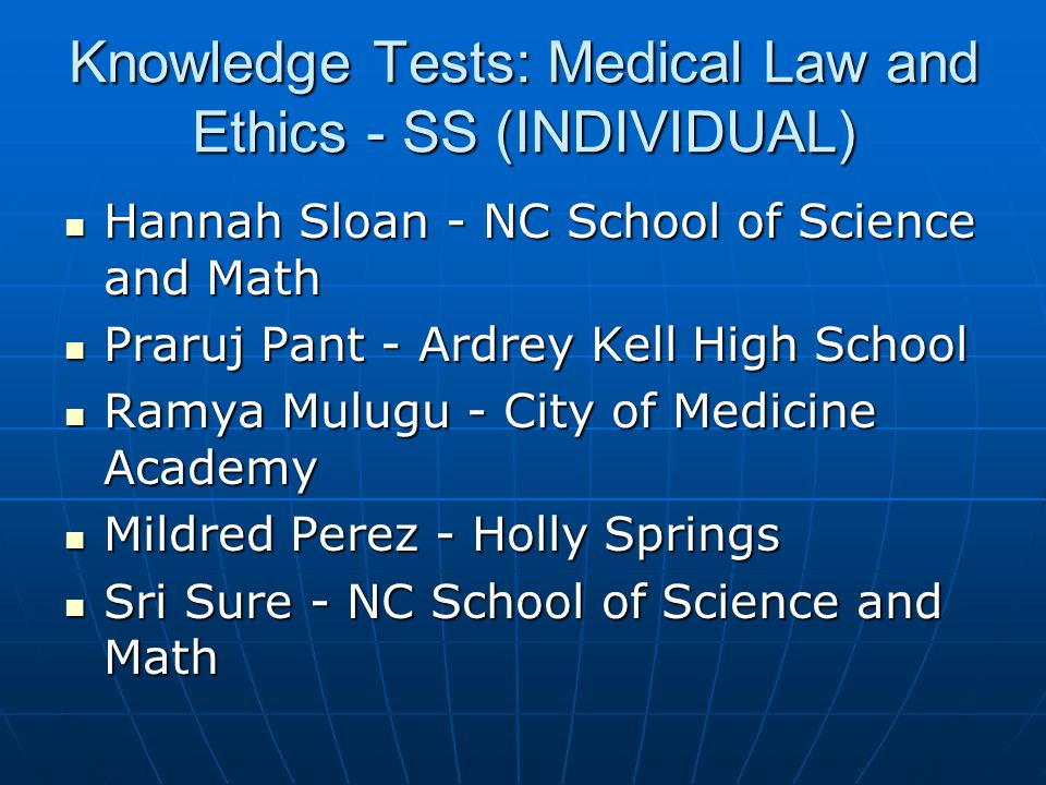 Knowledge Tests: Medical Law and Ethics - SS (INDIVIDUAL)