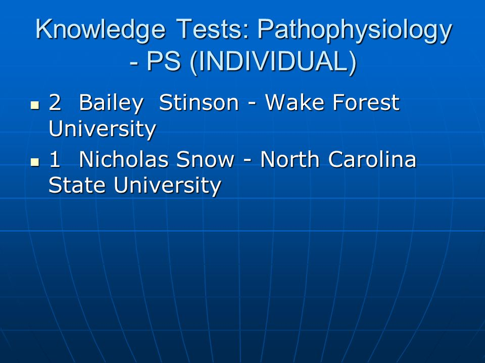 Knowledge Tests: Pathophysiology - PS (INDIVIDUAL)