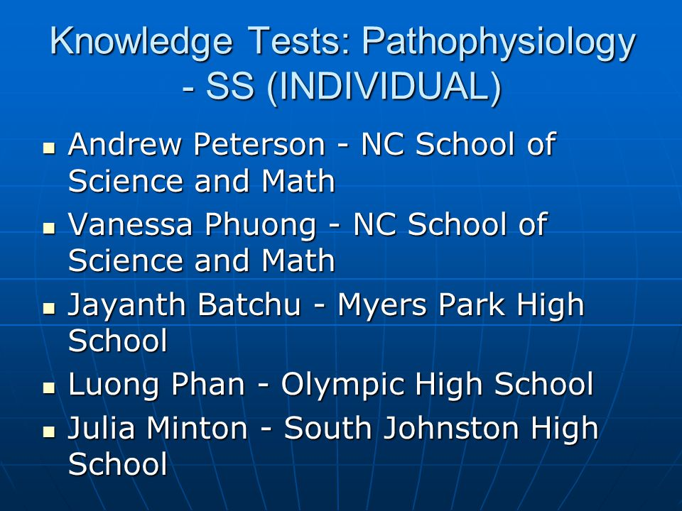 Knowledge Tests: Pathophysiology - SS (INDIVIDUAL)