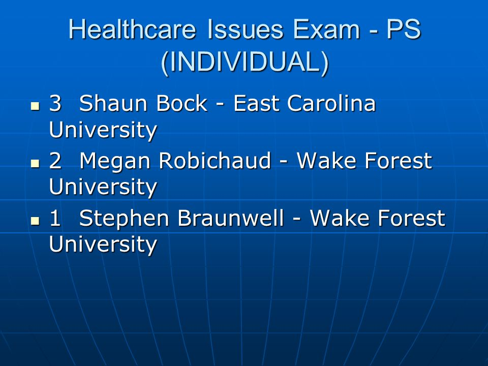 Healthcare Issues Exam - PS (INDIVIDUAL)