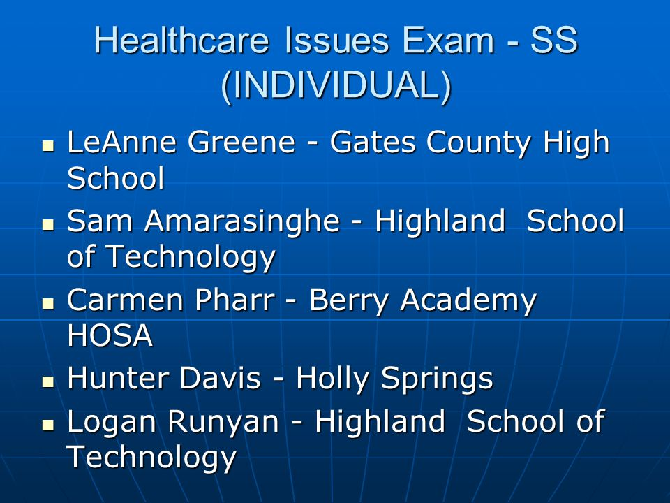 Healthcare Issues Exam - SS (INDIVIDUAL)