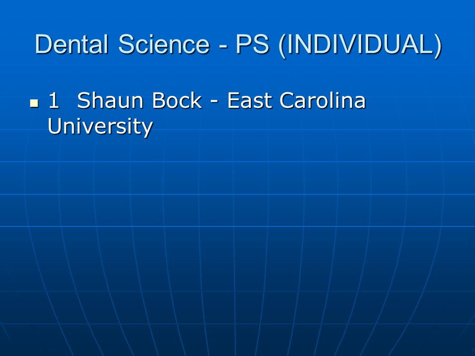Dental Science - PS (INDIVIDUAL)