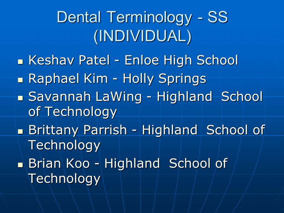 Dental Terminology - SS (INDIVIDUAL)