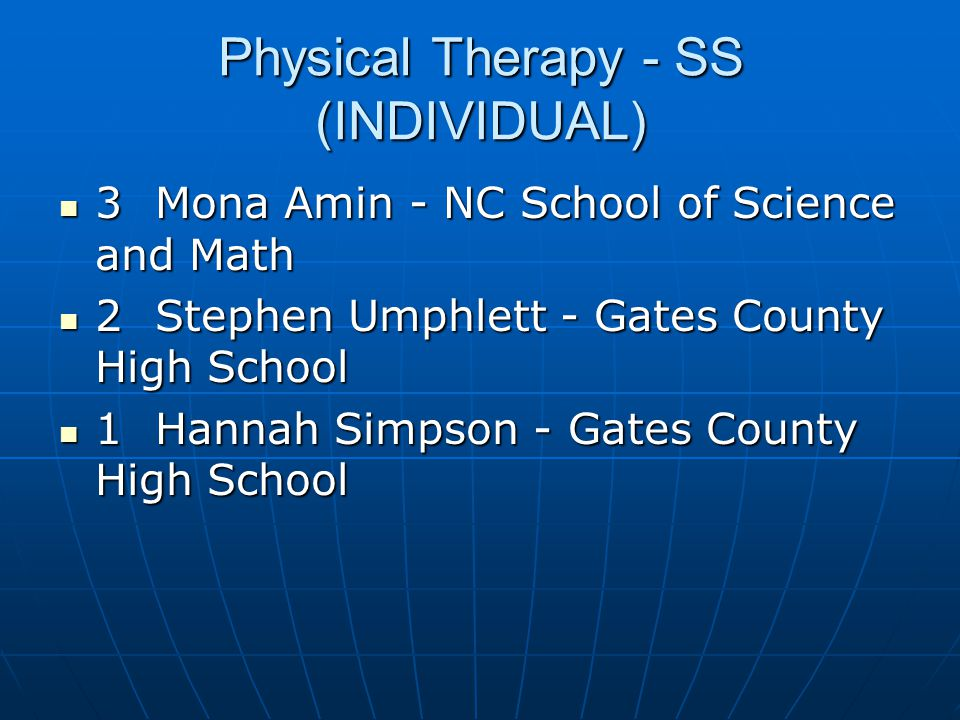 Physical Therapy - SS (INDIVIDUAL)