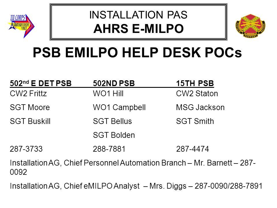 PSB EMILPO HELP DESK POCs