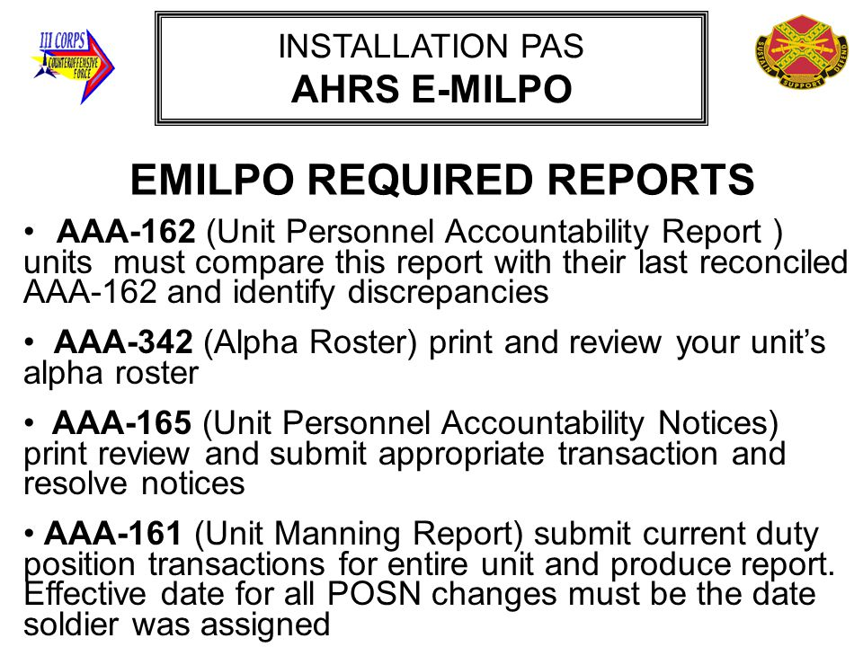 EMILPO REQUIRED REPORTS