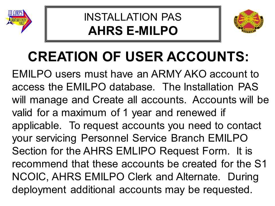 CREATION OF USER ACCOUNTS: