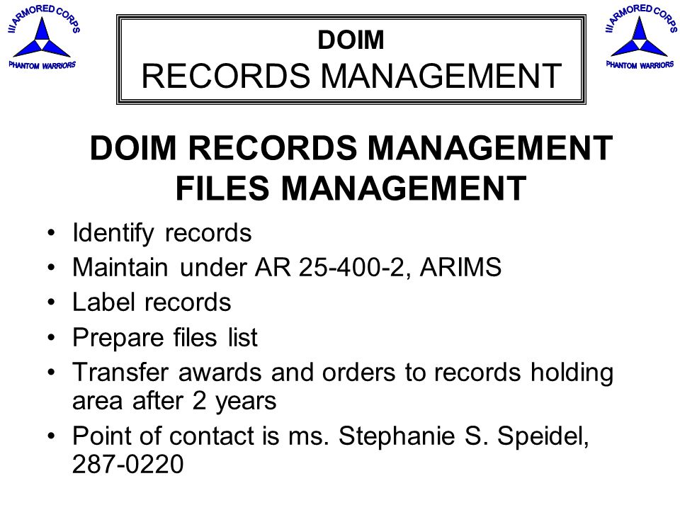 DOIM RECORDS MANAGEMENT FILES MANAGEMENT
