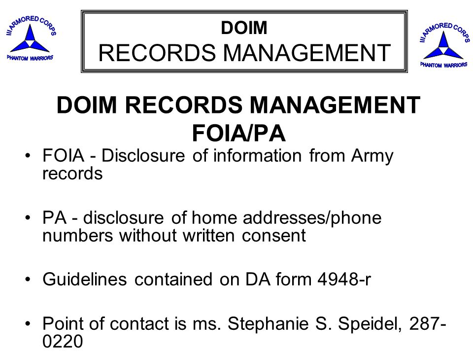 DOIM RECORDS MANAGEMENT FOIA/PA