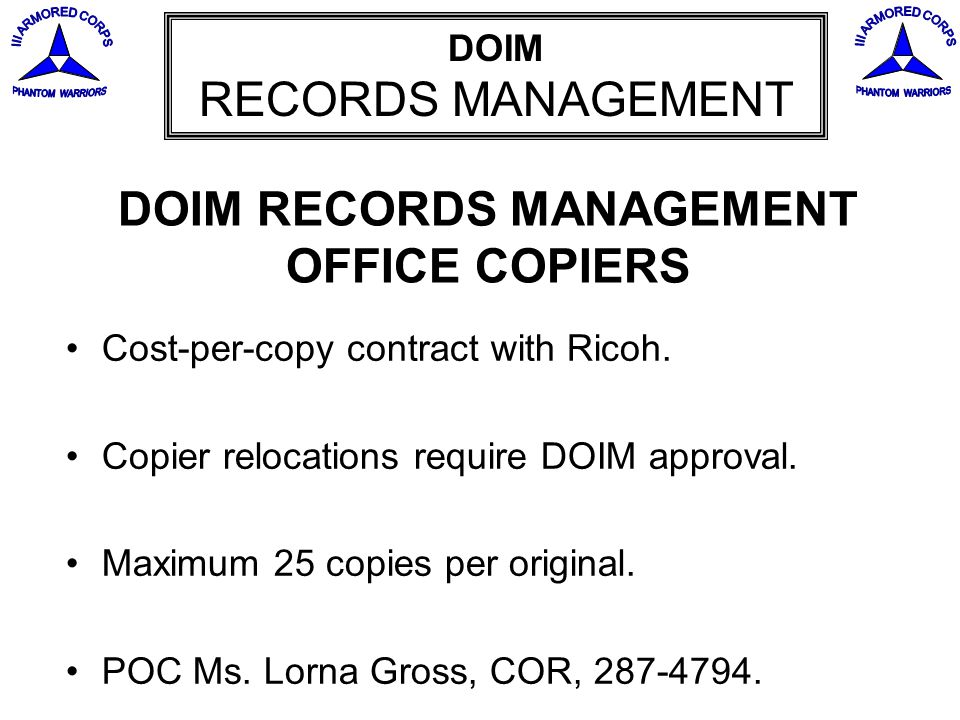 DOIM RECORDS MANAGEMENT OFFICE COPIERS