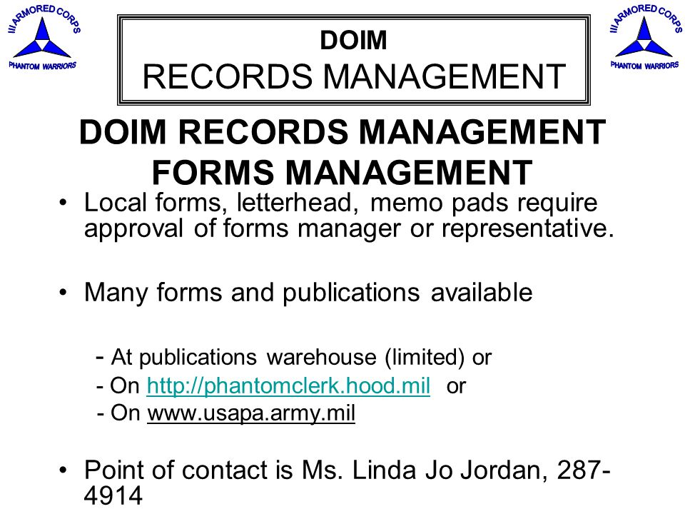 DOIM RECORDS MANAGEMENT FORMS MANAGEMENT
