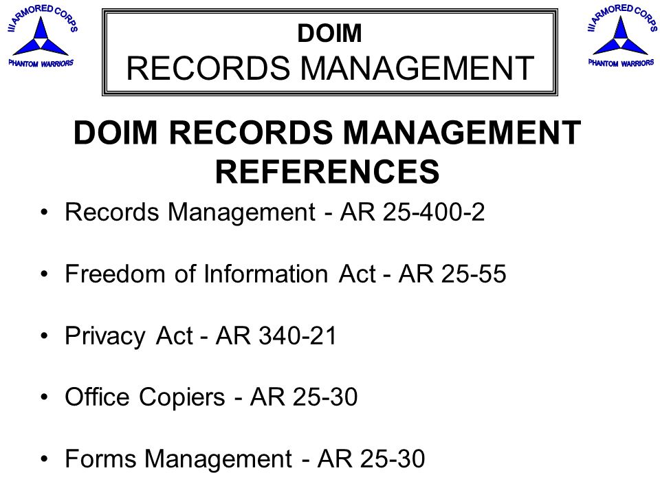 DOIM RECORDS MANAGEMENT REFERENCES