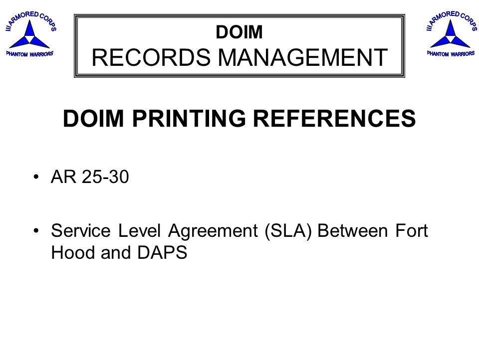 DOIM PRINTING REFERENCES