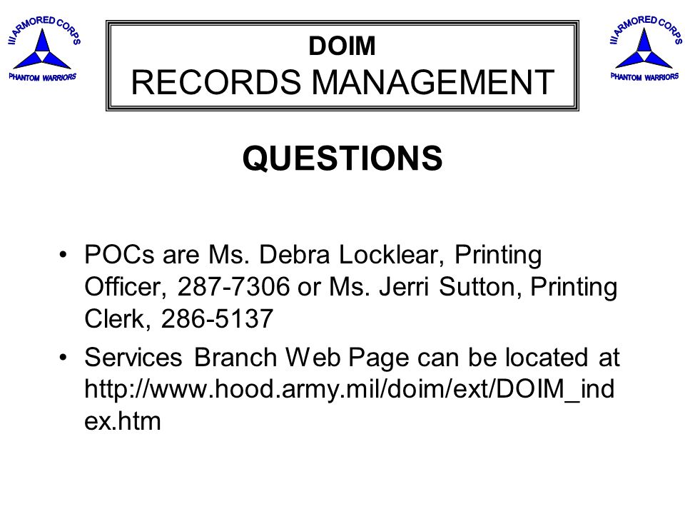DOIM RECORDS MANAGEMENT