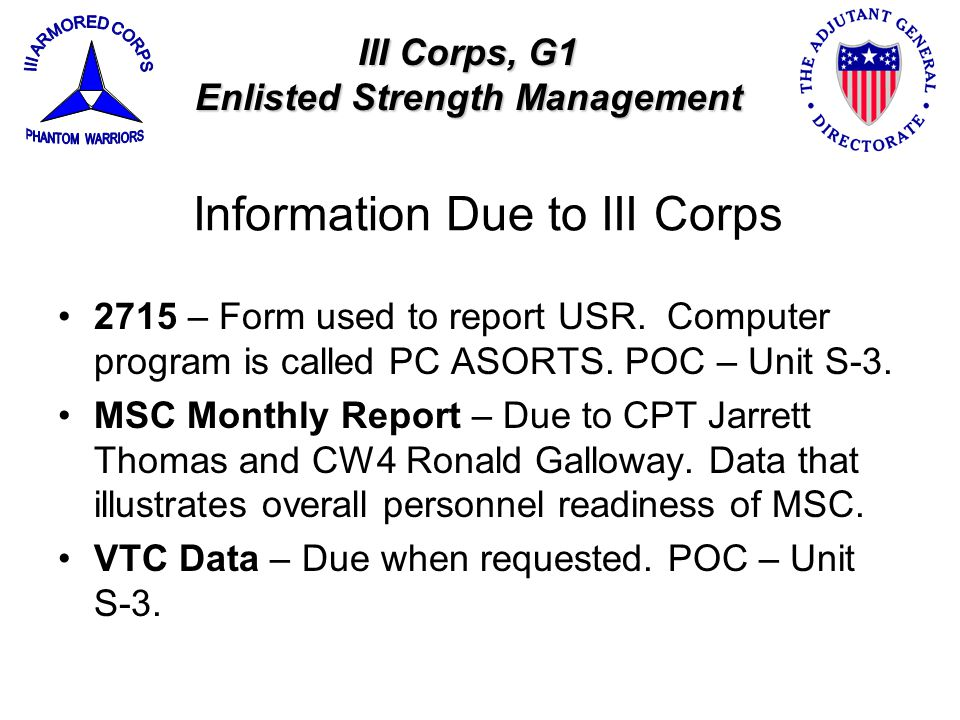 Information Due to III Corps