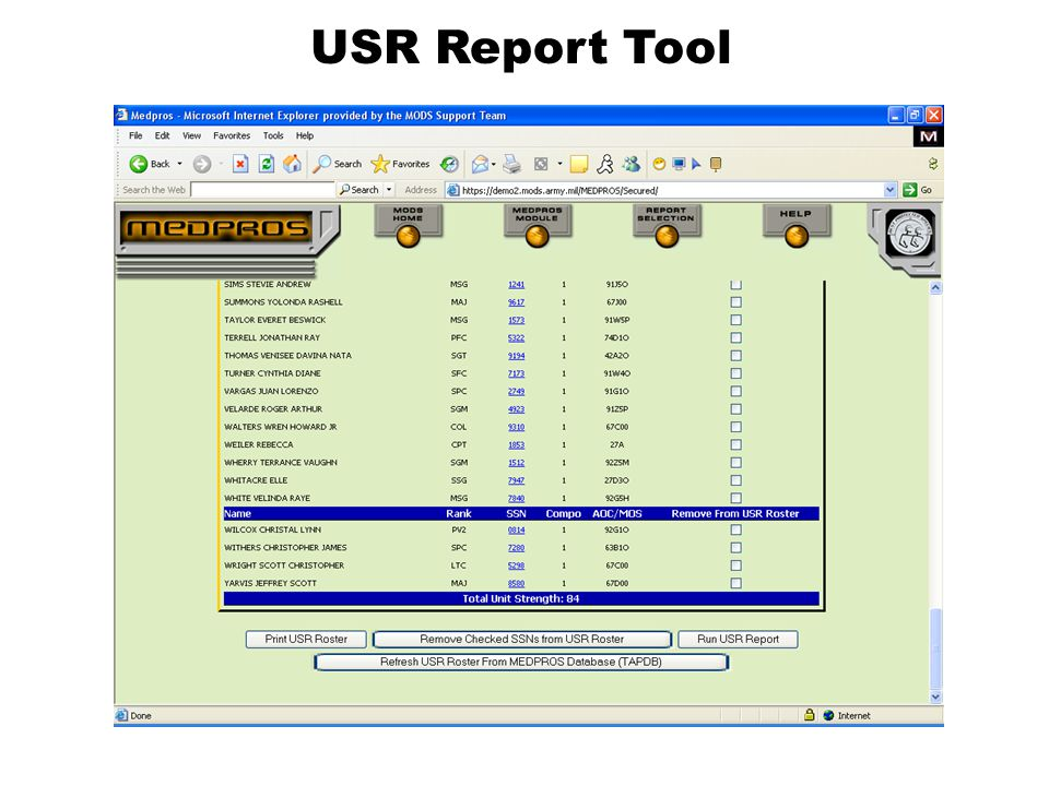 USR Report Tool This slide shows you the snapshot of the add/delete screen and the button summary of the choices.