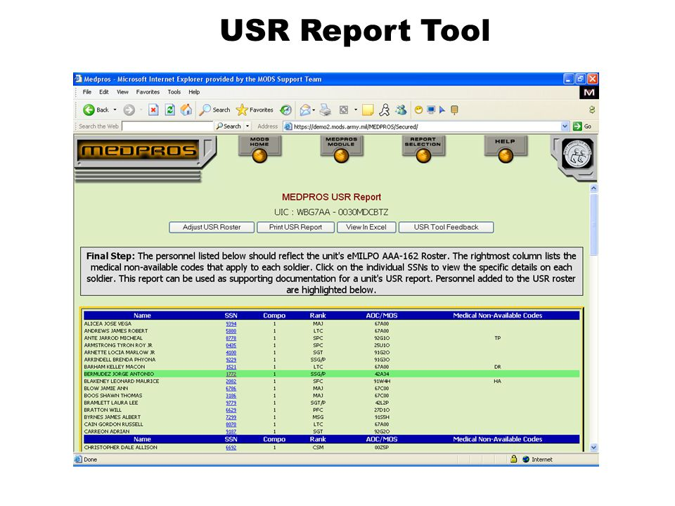 USR Report Tool This is the MEDPROS USR Report….
