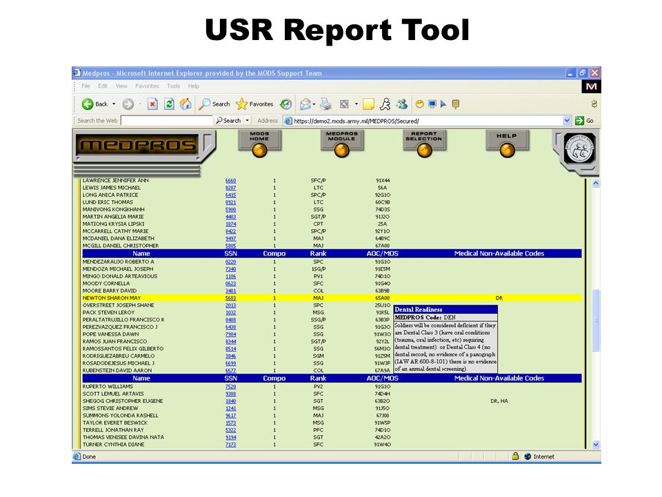 USR Report Tool Here's what the float over looks like