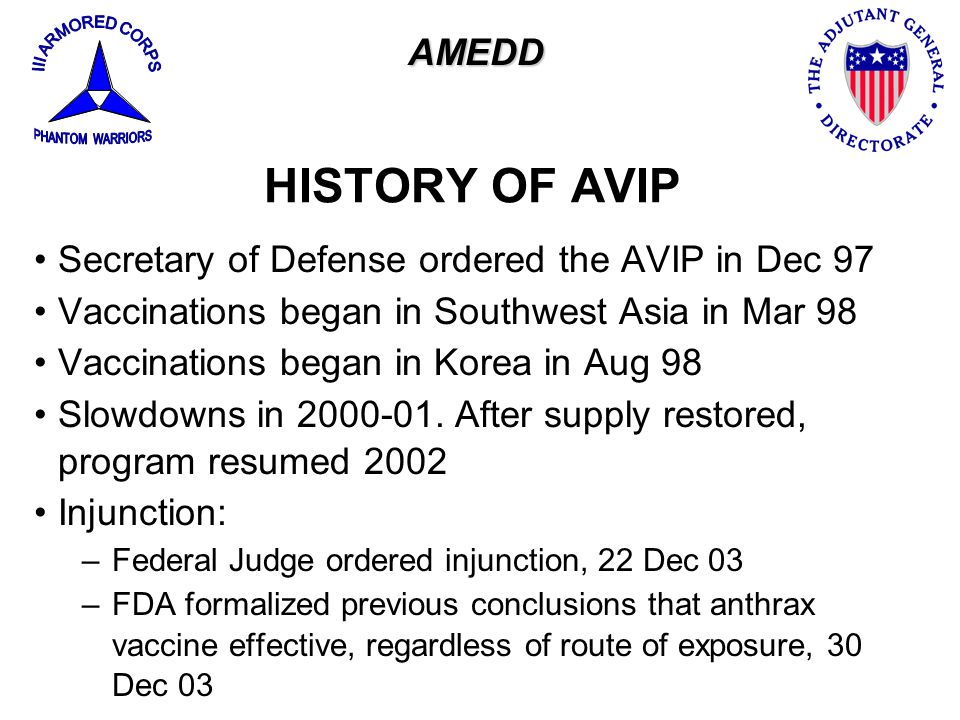 HISTORY OF AVIP AMEDD Secretary of Defense ordered the AVIP in Dec 97