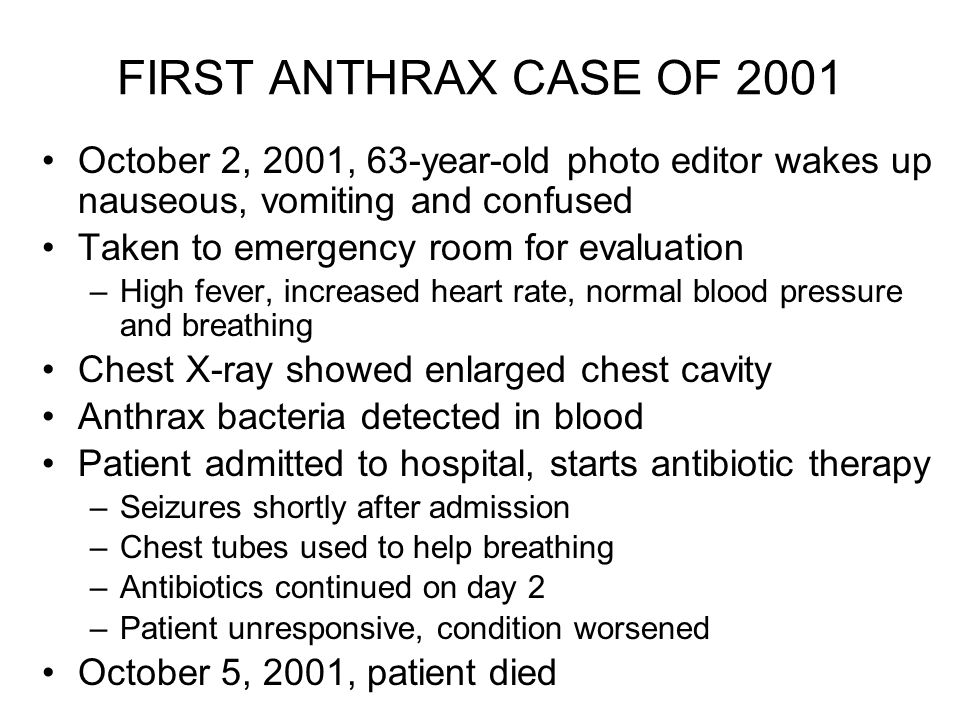 Image result for death from anthrax in october 5, 2001