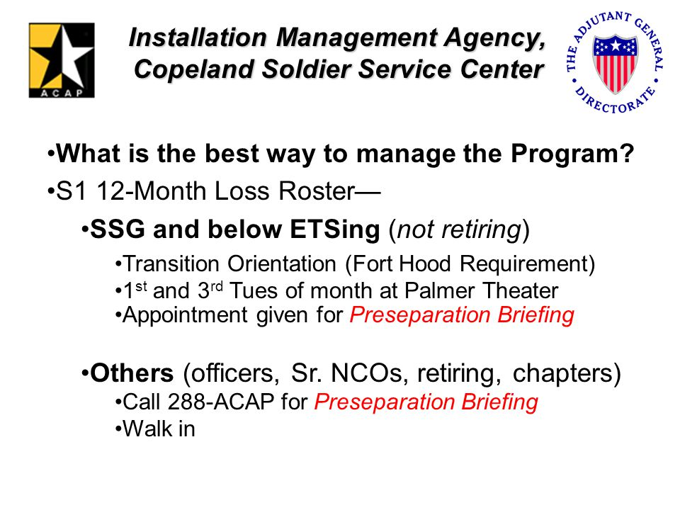 Installation Management Agency, Copeland Soldier Service Center