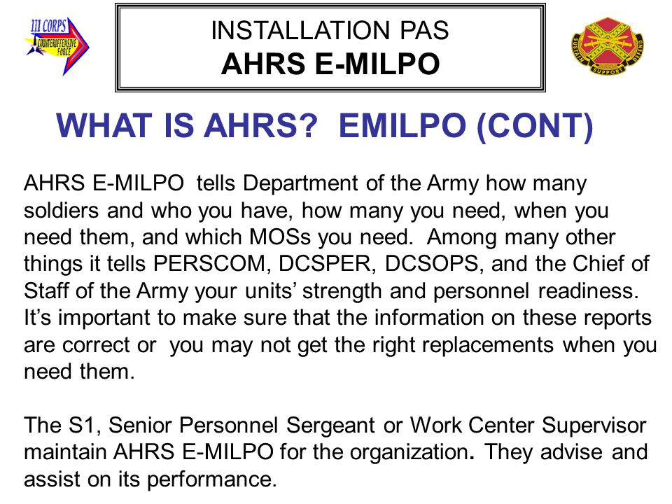 WHAT IS AHRS EMILPO (CONT)