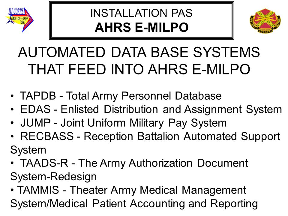 AUTOMATED DATA BASE SYSTEMS THAT FEED INTO AHRS E-MILPO