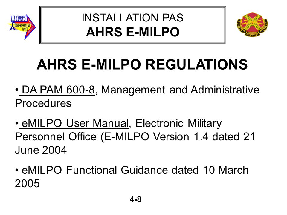 AHRS E-MILPO REGULATIONS