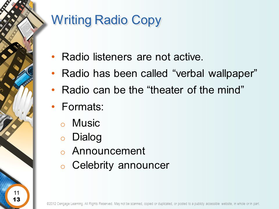 Writing Radio Copy Radio listeners are not active.
