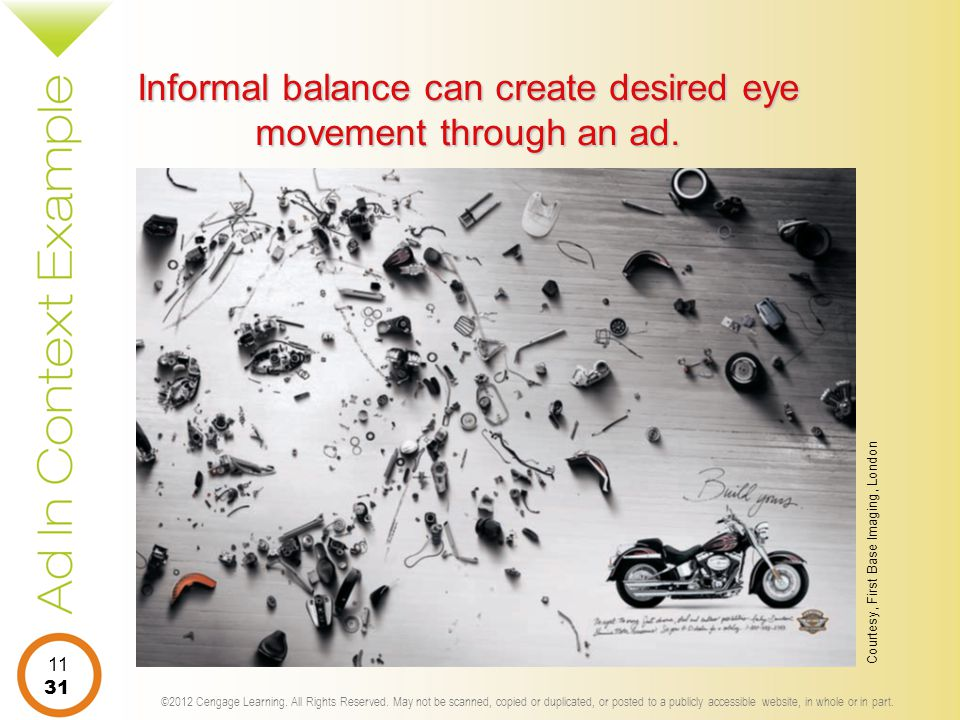 Informal balance can create desired eye movement through an ad.