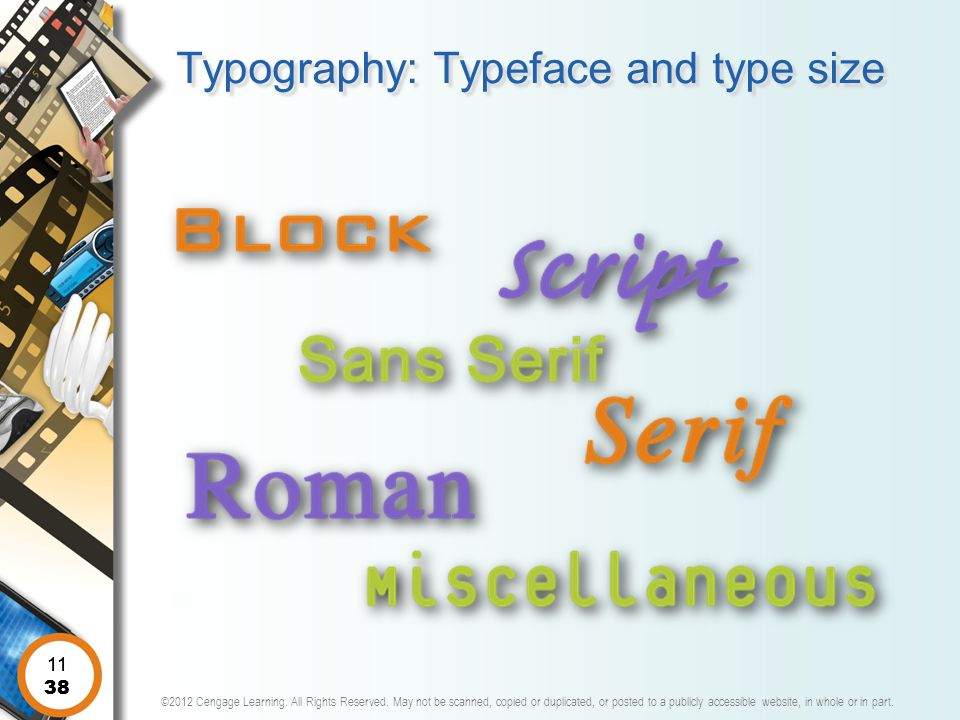 Typography: Typeface and type size