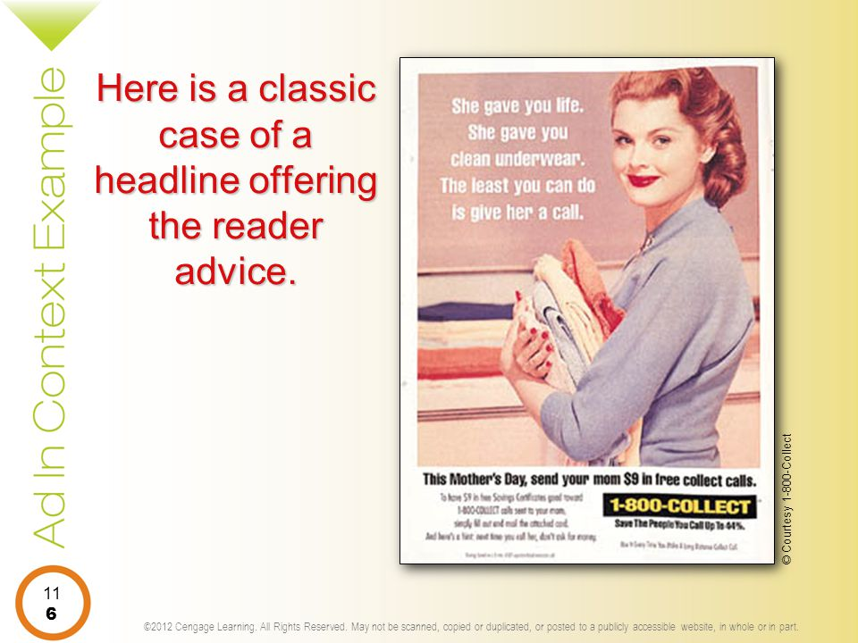 Here is a classic case of a headline offering the reader advice.