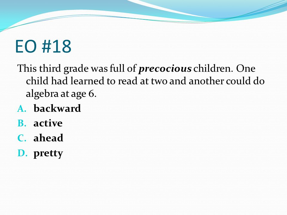 EO #18 This third grade was full of precocious children. One child had learned to read at two and another could do algebra at age 6.