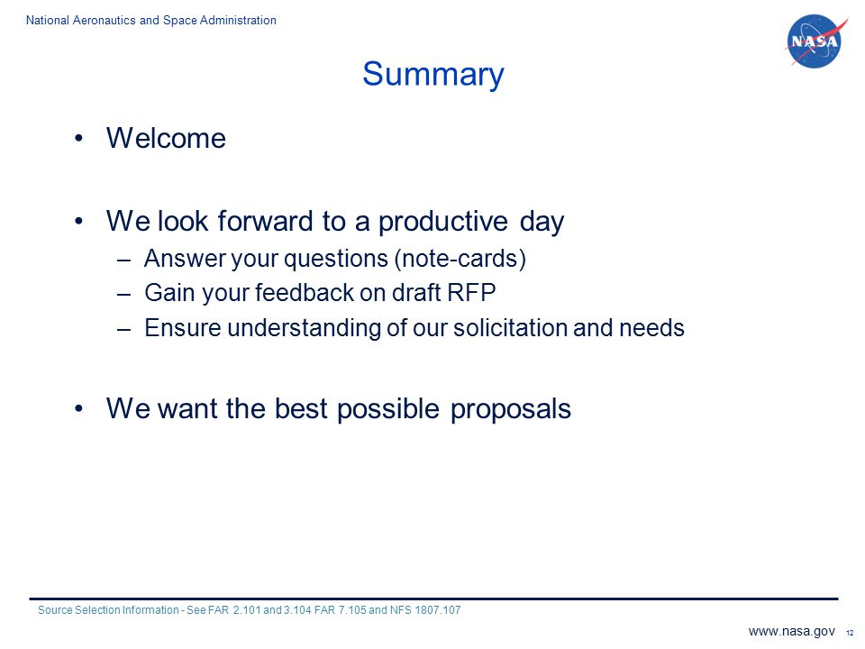 Summary Welcome We look forward to a productive day
