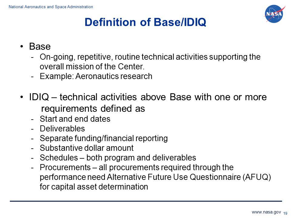 Definition of Base/IDIQ