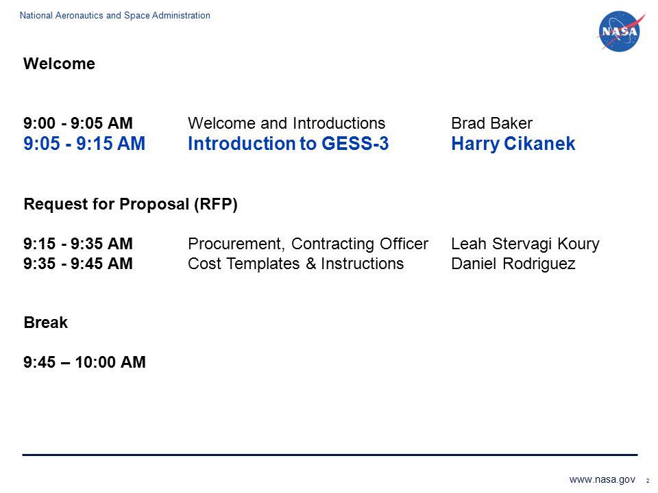 9:05 - 9:15 AM Introduction to GESS-3 Harry Cikanek
