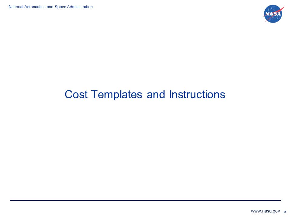 Cost Templates and Instructions