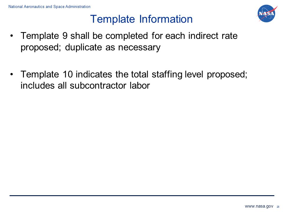 Template Information Template 9 shall be completed for each indirect rate proposed; duplicate as necessary.