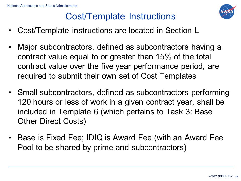 Cost/Template Instructions
