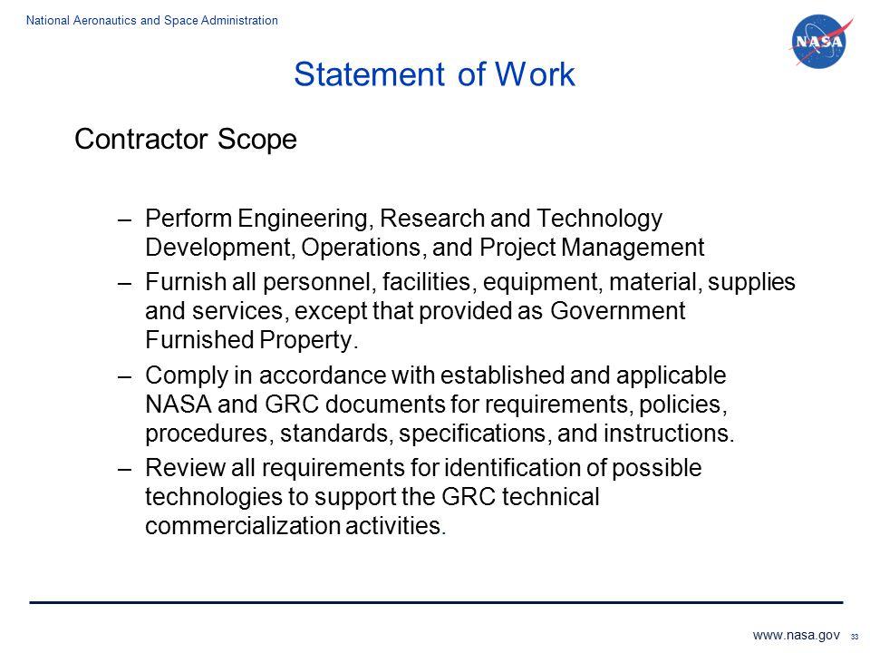 Statement of Work Contractor Scope