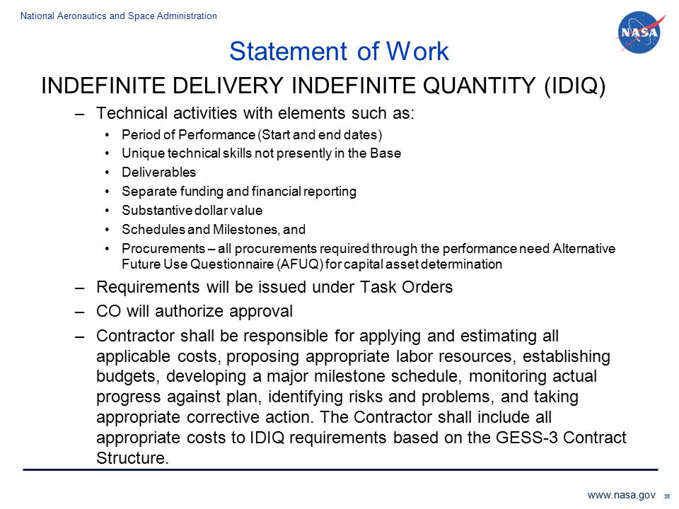 Statement of Work INDEFINITE DELIVERY INDEFINITE QUANTITY (IDIQ)