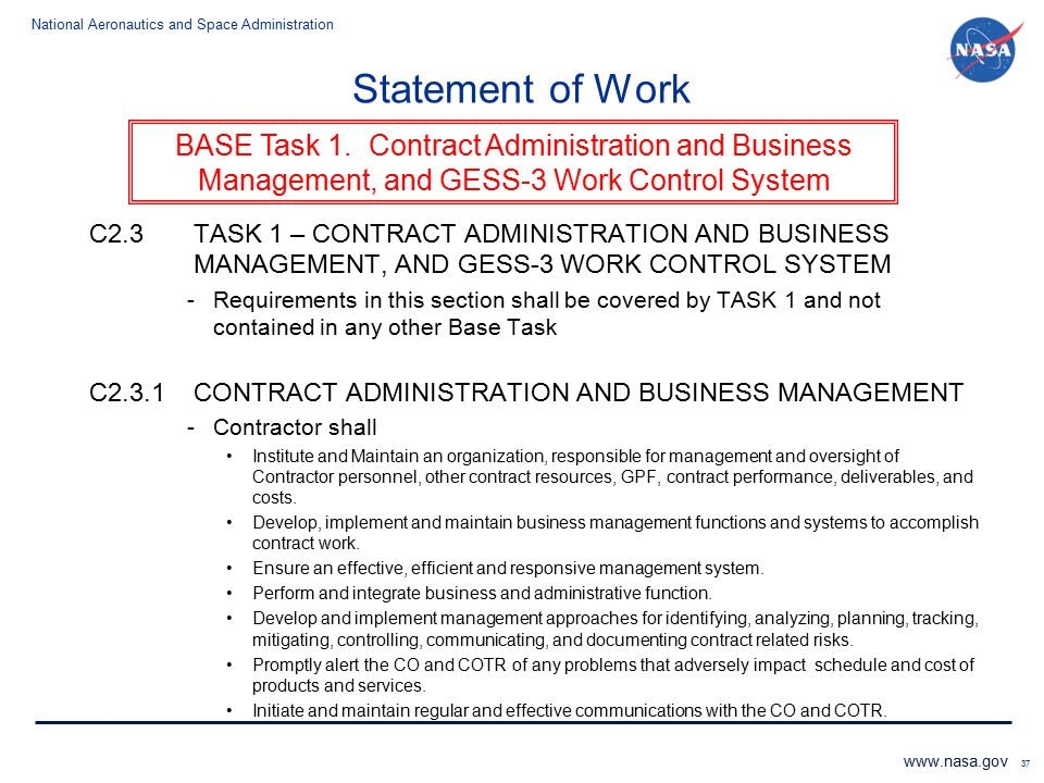 Statement of Work C2.3 TASK 1 – CONTRACT ADMINISTRATION AND BUSINESS MANAGEMENT, AND GESS-3 WORK CONTROL SYSTEM.