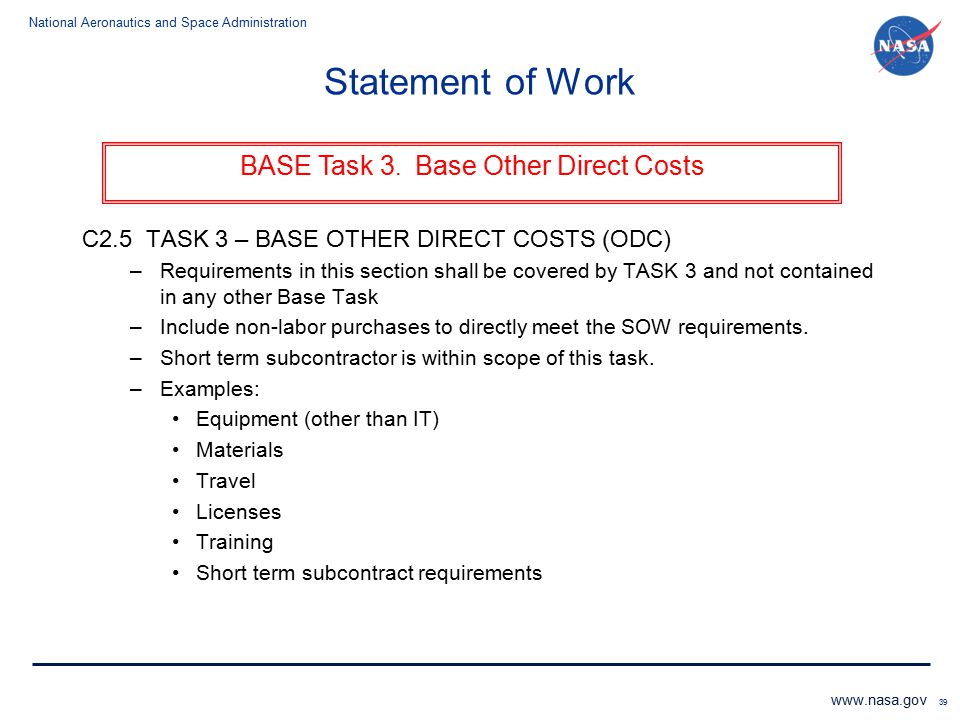 BASE Task 3. Base Other Direct Costs